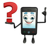 Mobile character with question mark Stock Photography
