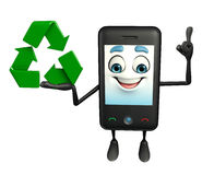 Mobile character with recycle sign Royalty Free Stock Photos