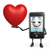 Mobile character with red heart Royalty Free Stock Image
