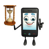 Mobile character with sand clock Stock Images