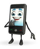 Mobile character is shy pose Royalty Free Stock Photography