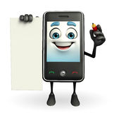 Mobile character with sign Royalty Free Stock Photos