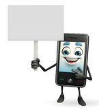 Mobile character with sign Stock Photo