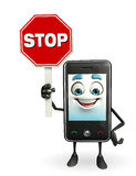 Mobile character with with stop sign Royalty Free Stock Images