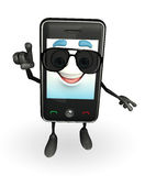 Mobile character with sun glasses Stock Images