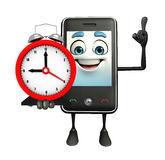 Mobile character with table clock Stock Photography