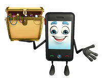 Mobile character with treasure box Royalty Free Stock Photos