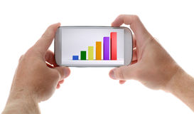 Mobile with chart. Hand holding modern mobile smart phone with success growth chart on screen. Isolated on white Stock Photography
