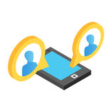 Mobile chat isometric 3d icon Stock Photos