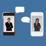 Mobile chat, woman and man on cellphone,  Royalty Free Stock Photography