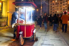 Mobile Chestnuts Stall Istiklal Beyoglu Istanbul. Mobile Chestnuts Stall in Istiklal Beyoglu Istanbul, Turkey Royalty Free Stock Photo