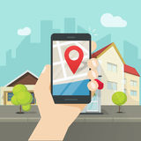 Mobile city map location, smartphone gps navigator town roadmap pin. Mobile phone city map geo location, hand with smartphone gps navigator town map and pin Stock Photo