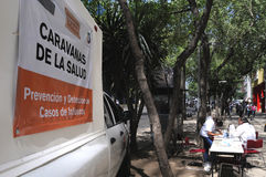 Mobile clinic in Mexico City stock photography