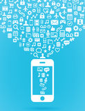 Mobile cloud computing concept Stock Photography