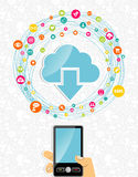 Mobile cloud computing network concept stock photo