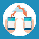 Mobile -  cloud and data transfering Royalty Free Stock Photography