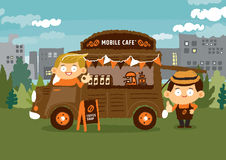 Mobile coffee shop - Van cafe concepts Royalty Free Stock Photography