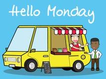 Mobile coffee van, hipster lifestyle on street, stock illustration