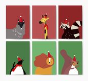 Collection of cute animals wearing Santa hats in cartoon style vector royalty free illustration