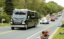 Mobile Command Center. Fire and rescue vehicles being driven in a fire muster parade Stock Images
