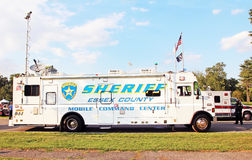 Mobile Command Center. Law enforcement mobile command centers built to create a police presence in high-crime neighborhoods. it equipped with wireless Stock Photo