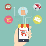 Mobile commerce concept  Flat design Royalty Free Stock Photos