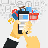 Mobile commerce concept illustration Royalty Free Stock Photo