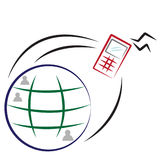 Mobile Communication. Globe with mobile phone.  Also in vector EPS8 format Royalty Free Stock Image