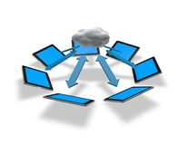 Mobile communication, cloud computing concept with tablets and cloud Stock Photo