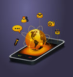 Mobile communication concept. With cute icons Royalty Free Stock Images
