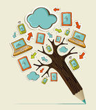 Mobile communication concept tree Royalty Free Stock Photos
