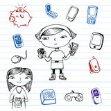 Mobile communication, hipsters doodle set Royalty Free Stock Photos
