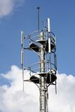 Mobile Communication Tower. A telecommunication tower setup for a mobile network, on the backdrop of a cloudy sky Royalty Free Stock Photos