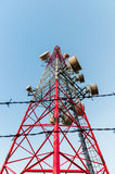 Mobile Communication towers with barbed wire.  Stock Images