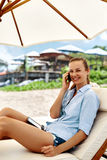 Mobile Communication. Woman Calling On Phone. Summer Beach. Freelance Royalty Free Stock Photography