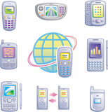 Mobile communications vector icons set Royalty Free Stock Images
