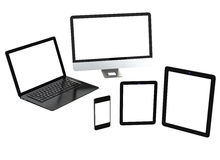 Mobile compter technology. Smart phone, tablet PC, laptop PC and LCD monitor. Blank space for text copy Stock Photos
