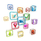 Mobile computer application icons isolated Stock Photography