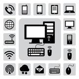 Mobile ,computer and network icons .  Royalty Free Stock Images
