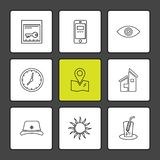 Mobile , computer , technology , calls , home , eps icons set vector. Mobile , computer , technology , calls , home , phone , wifi , internet , chart royalty free illustration