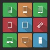 Mobile and Computers Icons Set with Long Shadow Stock Image