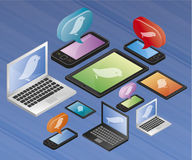 Mobile computers with twitter logo stock illustration