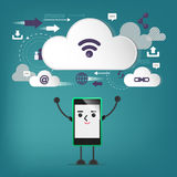 Mobile connection, communication ,cloud connection. Royalty Free Stock Photography