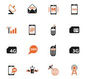 Mobile connection icon set. Mobile connection color vector icons for web and user interface design Stock Illustration