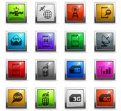 Mobile connection icon set. Mobile connection vector icons in square colored buttons for web and user interface design Vector Illustration