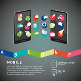 Mobile connection. Mobile phones with share icons. Infographics design template royalty free illustration