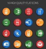 Mobile connection 16 flat icons. Mobile connection web icons for user interface design royalty free illustration