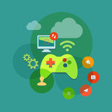 Mobile and console games flat icon illustration Stock Images
