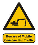 Mobile construction traffic. Beware of mobile construction traffic isolated on white Royalty Free Stock Photography