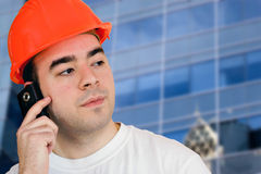 Mobile Construction Worker Stock Photos